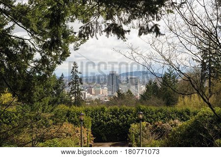 Portland Oregon downtown city view from Washington Park in Spring Season