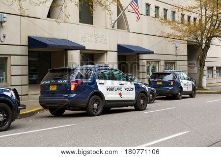 PORTLAND OREGON - APRIL 9 2017: City of Portland Police Bureau Sports Utility Vehicles SUV parked outside city downtown metro station