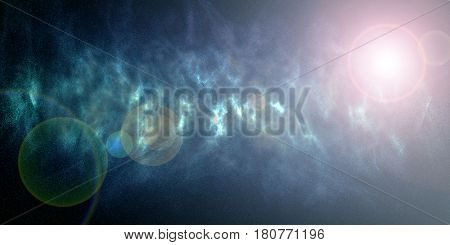 Space nebula galaxy stars. Blue universe background
