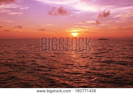 Great Sunset from sea Kaimun Jawa Indonesia