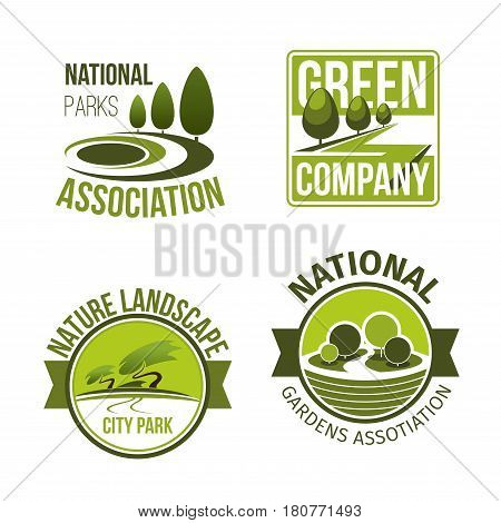 Park gardens, landscape and green nature company vector icons . Set of badges for greenery planting and outdoor gardening service with symbols of woodland forest and urban city park environment