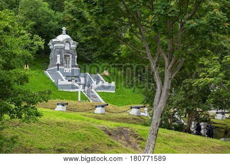 Petropavlovsk-Kamchatsky, Russia - August 14, 2016: Memorial complex - Communal grave of defenders of Petropavlovsk-Kamchatsky from attack of Anglo-French squadron in 1854 and monument - Chapel