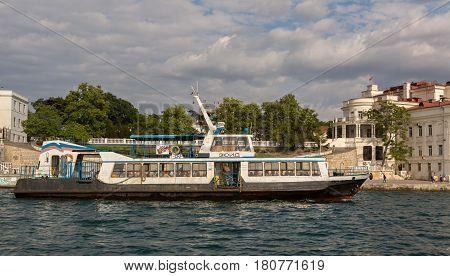 Sevastopol, Russia - June 09, 2016: Pleasure boat Zuid in the Artillery Bay of Sevastopol