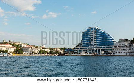 Sevastopol, Russia - June 09, 2016: Cape Khrustalny residential complex in Sevastopol