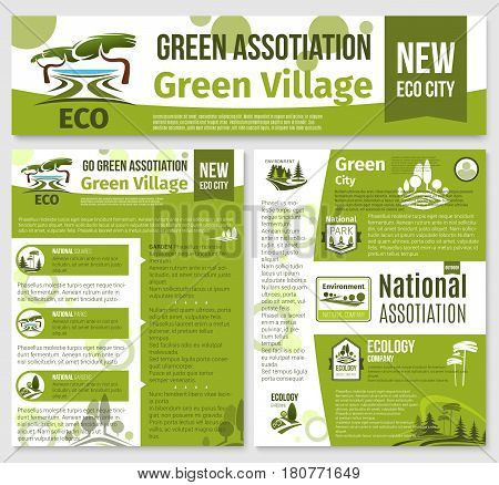 Green environment association templates for posters or landing web page. Ecology, urban squares trees gardening and outdoor garden greenery or park and village planting company vector banners