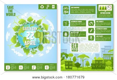 Earth Day brochure template. Eco city streetscape and globe with green trees, eco friendly living principles text layouts with green energy, recycle, eco transport, biofuel and save planet symbols