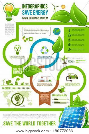 Save Energy infographics for ecology and nature environment conservation. Vector graph elements and diagrams on green recycling and alternative sources, solar panels, energy plants and electric cars