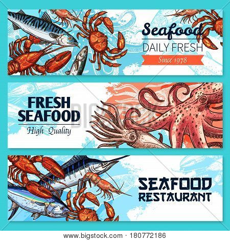 Seafood and fish restaurant banners. Vector fresh fishing catch of octopus or lobster crab and shrimp prawn, Japanese cuisine mackerel, marlin and fresh salmon. Sketch set for fish market or store