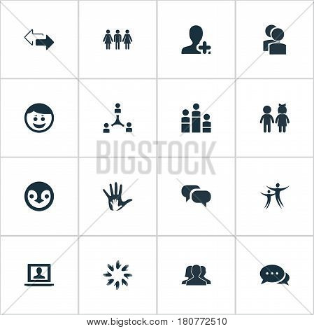 Vector Illustration Set Of Simple Mates Icons. Elements Penguin, Arrows, Cooperation And Other Synonyms Conversation, Team And Association.