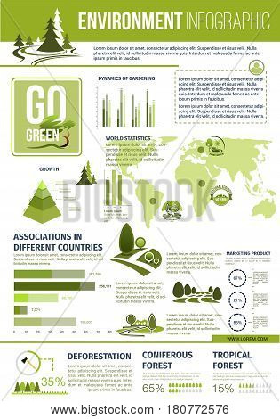 Environment infographics for green nature saving and protection. Vector charts and graphs with world map of deforestation and gardening or planting statistics, parks and gardens