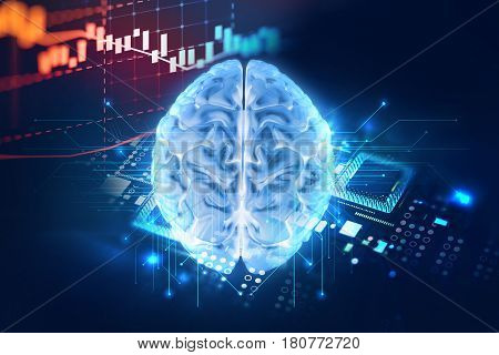 3D Rendering Of Human  Brain On Technology Background