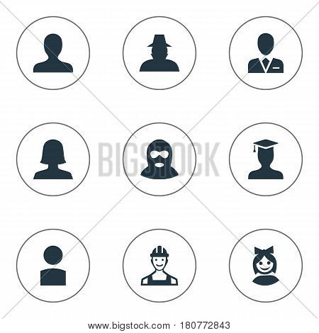 Vector Illustration Set Of Simple Avatar Icons. Elements Felon, Postgraduate, Woman User And Other Synonyms Business, Culprit And Postgraduate.