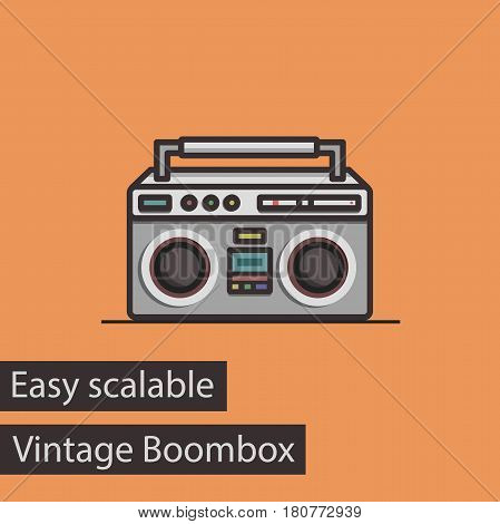 Vintage Boombox Flat Style Vector Icon. Easy Scalable.