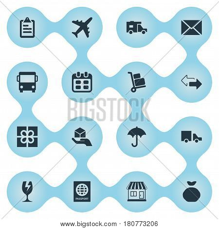 Vector Illustration Set Of Simple Delivery Icons. Elements Day , Holdall , Hand Synonyms Ribbon, Calendar And Caravan.
