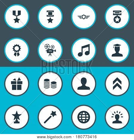 Vector Illustration Set Of Simple Prize Icons. Elements Currency, Miracle, Avatar And Other Synonyms Champion, Triumphant And Miracle.