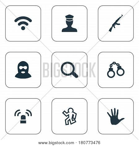 Vector Illustration Set Of Simple Offense Icons. Elements Thief, Lock, Magnifier And Other Synonyms Alarm, Sheriff And Officer.