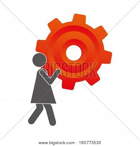 silhouette pictogram woman holding a colorful pinion vector illustration