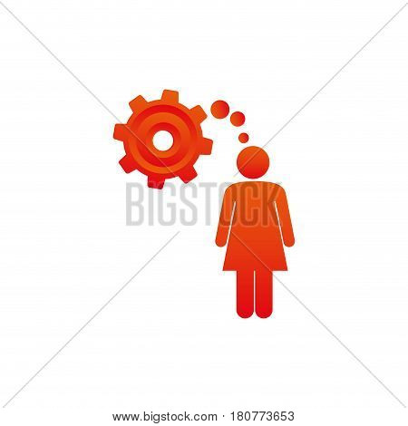 colorful pictogram woman thought in a pinion vector illustration