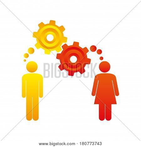 colorful pictogram man and woman with thought in a pinions vector illustration