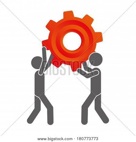 silhouette pictogram men holding a colorful pinion vector illustration