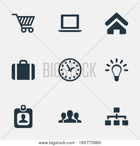 Vector Illustration Set Of Simple Trade Icons. Elements Handbag, Trading Purse, Computer Synonyms Unity, Team And Cart.