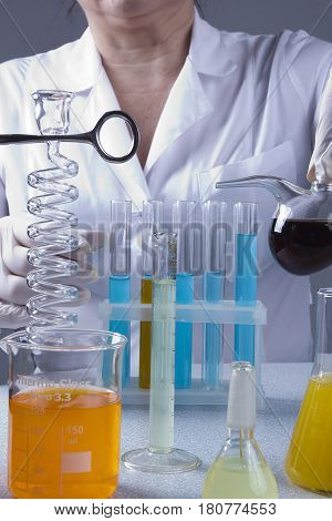 Adult lab assistant works in the laboratory