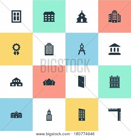 Vector Illustration Set Of Simple Architecture Icons. Elements Structure, Residence, Glazing And Other Synonyms Glazing, Booth And Compass.
