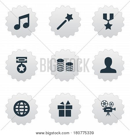 Vector Illustration Set Of Simple Achievement Icons. Elements World, Currency, Present And Other Synonyms Profile, Champion And Earth.