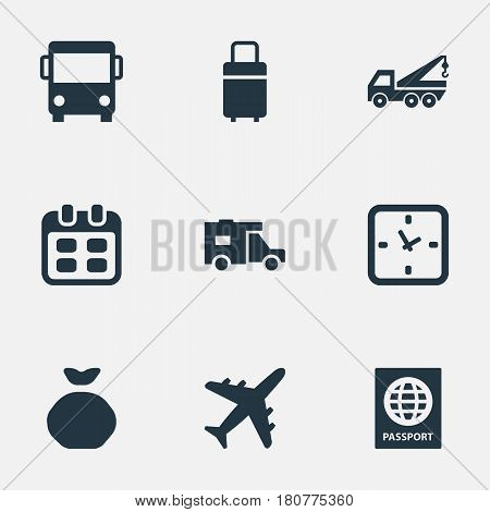 Vector Illustration Set Of Simple Carting Icons. Elements Trip Luggage, Minutes, Eviction Vehicle And Other Synonyms Eviction, Holdall And Agenda.