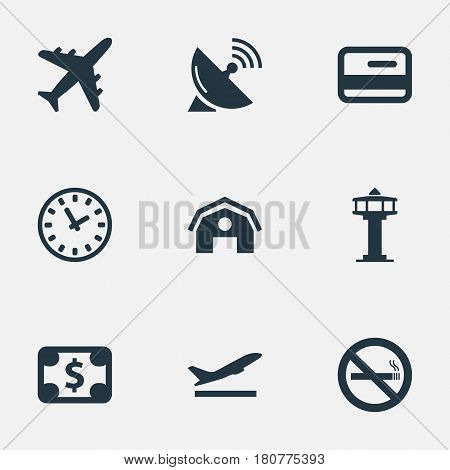 Vector Illustration Set Of Simple Travel Icons. Elements Credit Card, Takeoff, Plane And Other Synonyms Takeoff, Tower And Satelite.