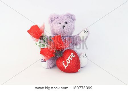Purple teddy bear and red roses on a white background.