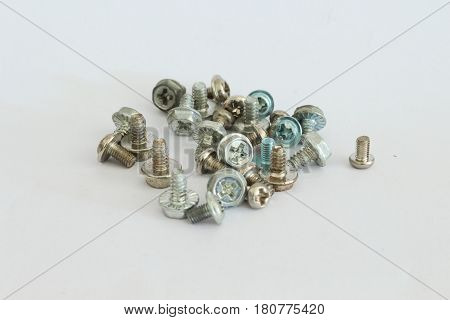 Screws used to mount devices on a computer.