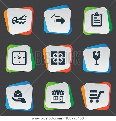 Vector Illustration Set Of Simple Distribution Icons. Elements Opposite Directions, Gift, Minutes And Other Synonyms Roster, Board And Eviction.