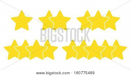 Rating from one to five star on white background
