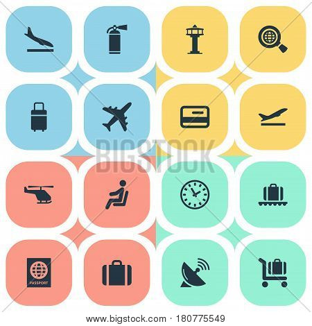 Vector Illustration Set Of Simple Travel Icons. Elements Certificate Of Citizenship, Travel Bag, Plane And Other Synonyms Protection, Satelite And Conveyor.