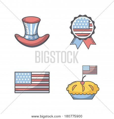 usa indepence day related icons over white background. colorful design. vector illustration