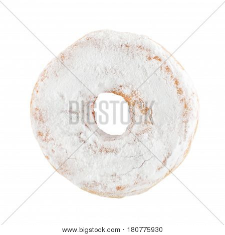 Close-up white donut in powdered sugar sprinkles isolated on white. poster