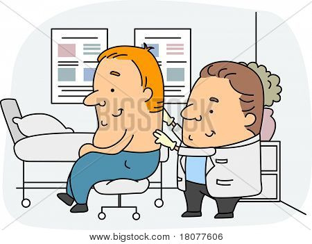 Illustration of a Chiropractor at Work