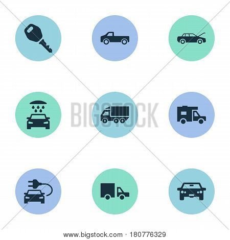 Vector Illustration Set Of Simple Automobile Icons. Elements Auto, Repairing Service, Transport Cleaning And Other Synonyms Motorcar, Carriage And Delivery.