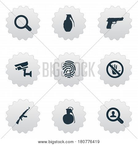 Vector Illustration Set Of Simple Crime Icons. Elements Magnifier, Explosive, Touch Forbidden And Other Synonyms Detective, Magnifier And Alarm.
