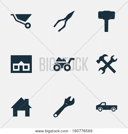 Vector Illustration Set Of Simple Build Icons. Elements Transportation, Workshop, Carpentry Equipment And Other Synonyms Trolley, Property And Tool.