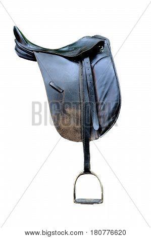 Black Leather Saddle Isolated On White