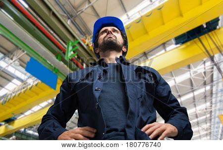 Portrait of a worker in an industrial facility
