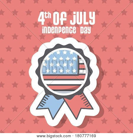 usa indepence day card with seal stamp icon over red background. colorful design. vector illustration