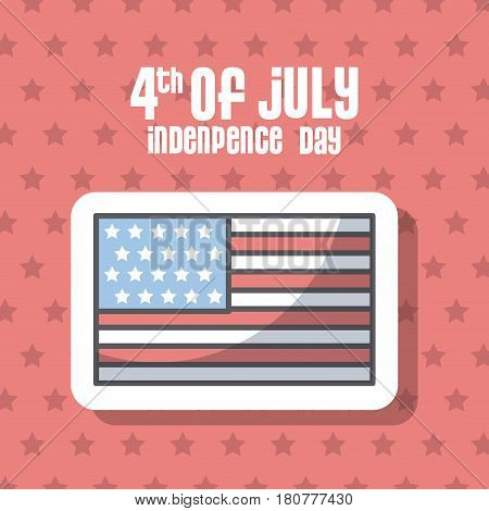 usa indepence day card with flag icon over red background. colorful design. vector illustration