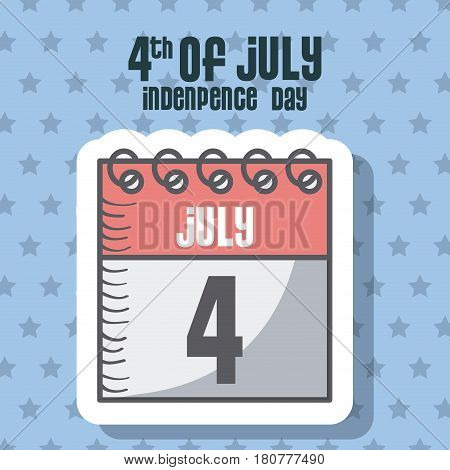 usa indepence day card with calendar icon over blue background. colorful design. vector illustration