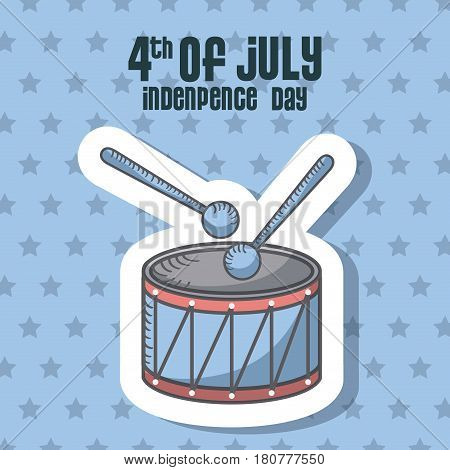 usa indepence day card with drum icon over blue background. colorful design. vector illustration