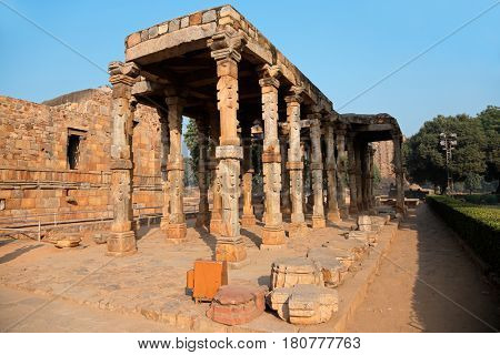 Sandstone pillars at the Qutb Minar complex in Delhi, India