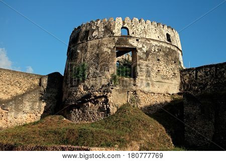Cylindrical tower building of an old historical fort, Stone Town, Zanzibar