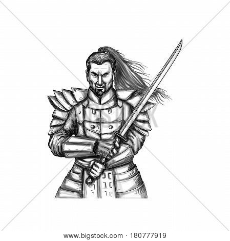 Tattoo style illustration of a Samurai warrior holding katana sword in a sword fight stance viewed from front set on isolated white background.